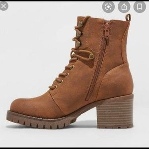 Universal Thread Brown Combat Lace Up Heeled Boots